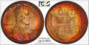 1942 Lincoln Cent Rainbow Toning, PCGS, True View, MS 64 RB
