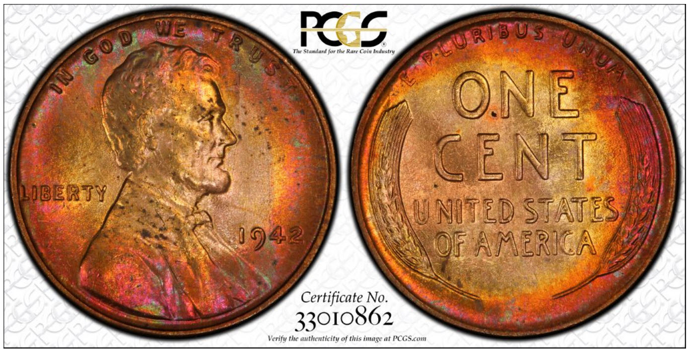 1942 Lincoln Cent PCGS MS-65RB Toned