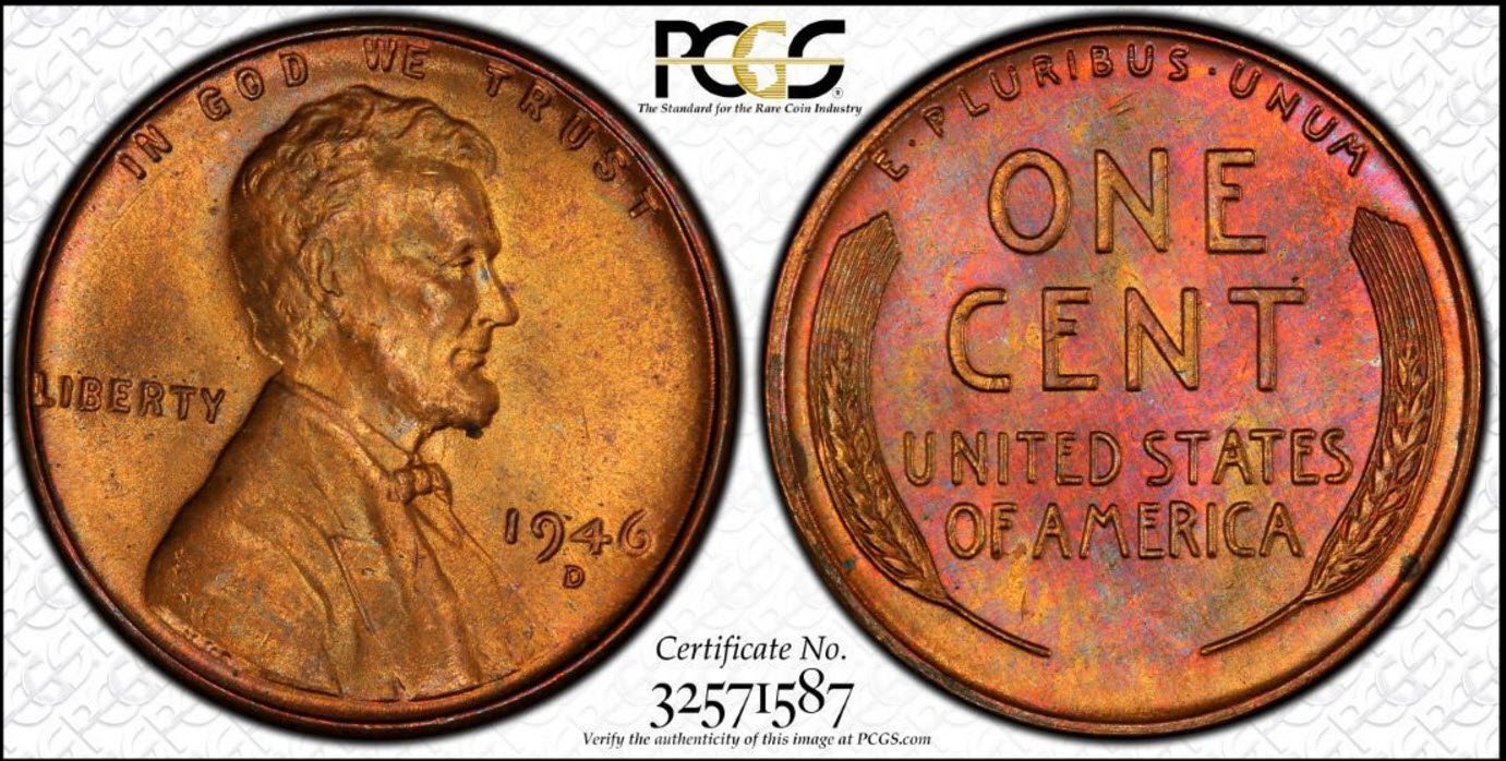 1946-D Lincoln Cent PCGS Toned