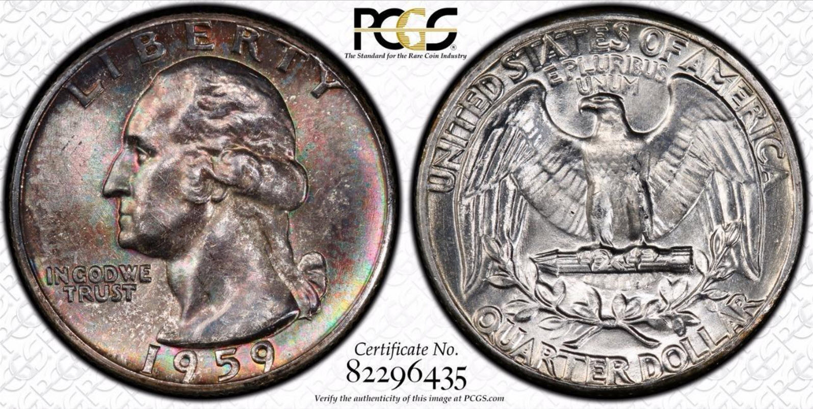 1959 Washington Quarter PCGS MS-65 Toned
