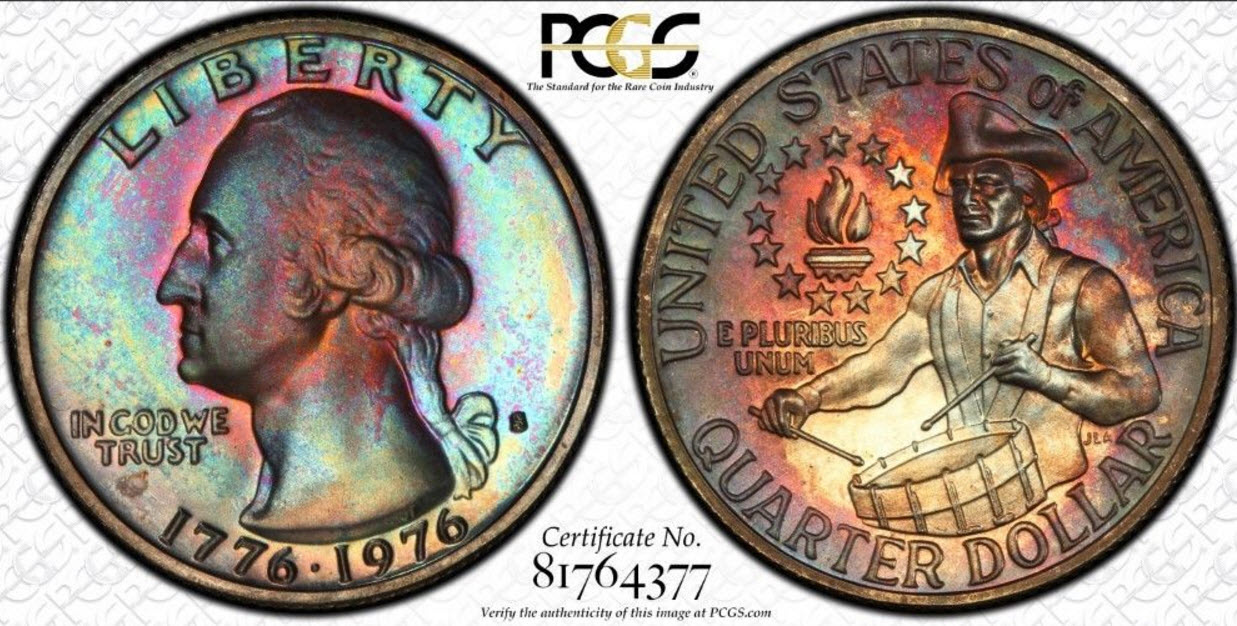 1976-S Washington Quarter PCGS PR67 Monster Toned
