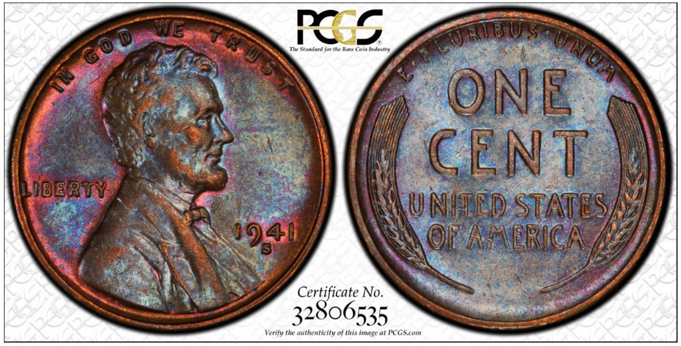 1941-S Lincoln Cent PCGS AU58BN Toned