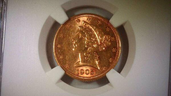 1905-S 5 Dollar Liberty Gold AU NGC Obverse